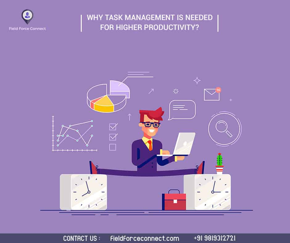 Task management for higher productivity(Man with laptop)