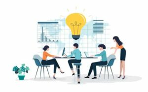 Cartoon image of 4 people sitting and working together | Free lead tracking app