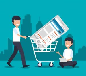Lead Management App | One person taking a cart with himself and one person is sitting