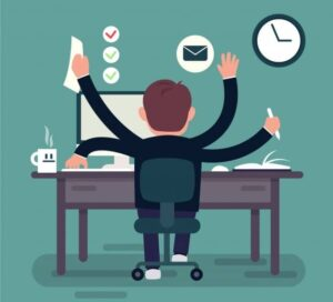 Task Management (A man managing multiple tasks)