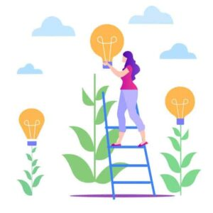 Lady on ladder| Free lead tracking App | Lead nurturing image